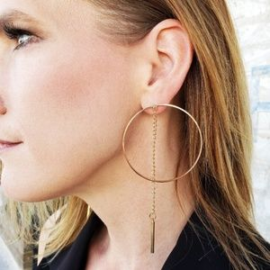 Gold Circle Chain Drop Tassel Statement Earrings